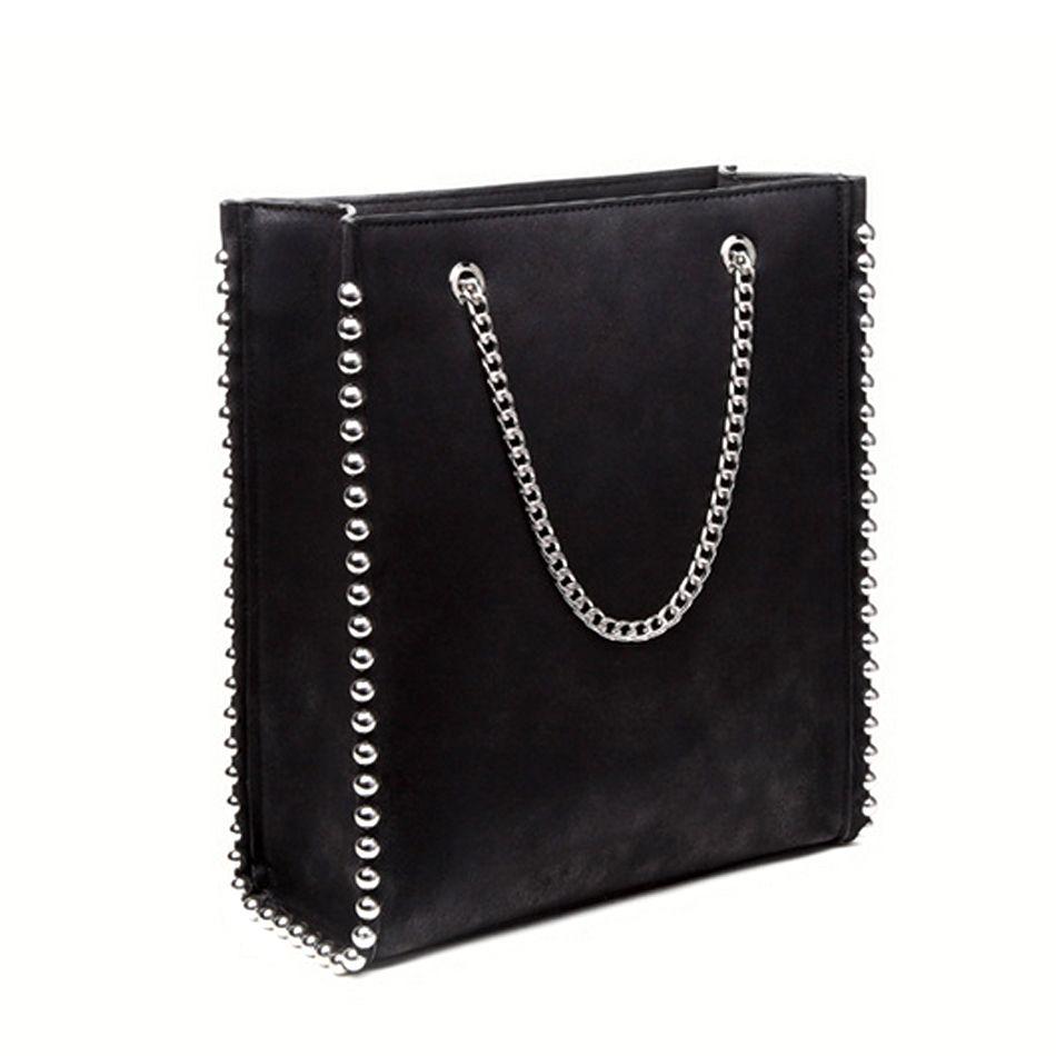 65546b3eeb21 SUNNY BEACH Women Bag Chain Tote Rivet Shopping Metalli Luxury Female  Handbag Designer Style Girl Bolsas Lady Pu Leather Bag Leather Satchel Ladies  Bags ...