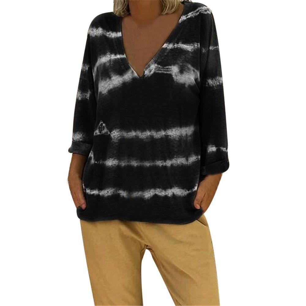 e3bd4e745 Women V Neck Tie Dyed Long Sleeves Plus Size Blouse Easy Top Tunic Shirt T  Shirt Women Poleras De Mujer Moda 2019 Be T Shirts The T Shirts From  Jamie22, ...