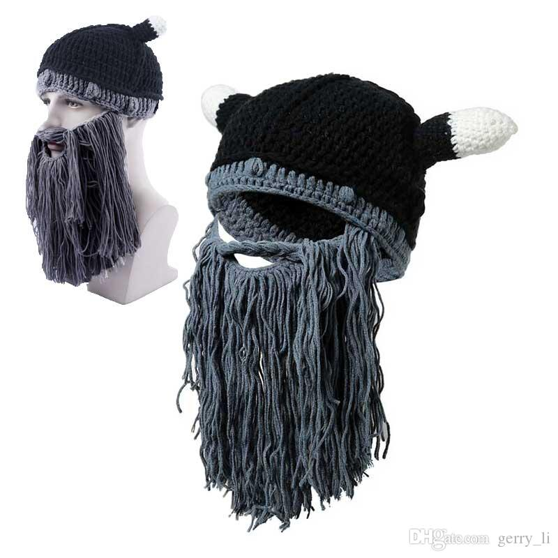 8c3544dd290 Men Winter Viking Hats Adult Funny Party Mask Beanies Beard Wig Hats  Handmade Knint Wool Ski Caps Baby Hats Fitted Hats From Gerry li
