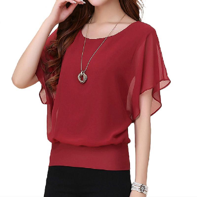 92c3f5a09ed 2019 Summer Tops Fashion Women Cozy Chiffon Blouse Plus Size Ruffle Batwing  Short Sleeve Casual Loose Shirt S 5XL YF739 From Blueberry07, $30.66 |  DHgate.