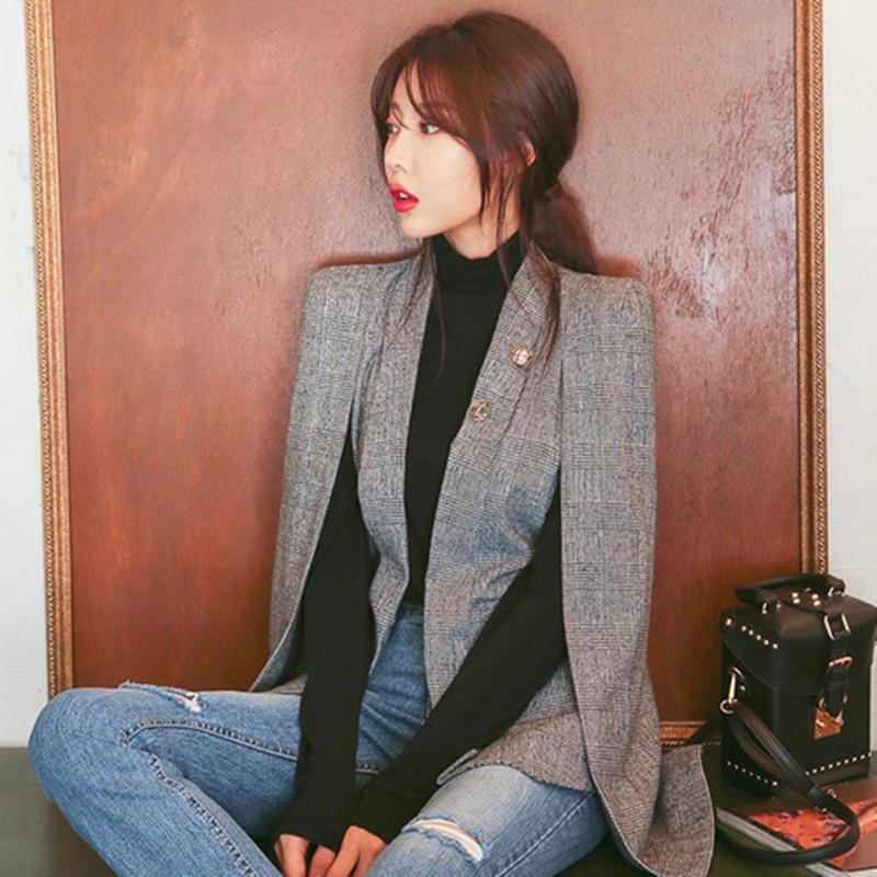 99d709366e 2018 Autumn Fashion Long Sleeve Cape Blazer Coat Women Split Cloak Cape Suit  Shawl Poncho OL Office Lady Workwear Women's Blazer