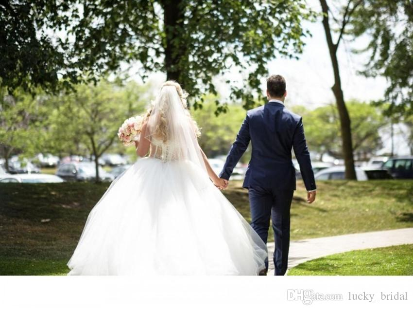 Stunning Ball Gown Bride Dress Sexy See Through Off the Shoulder Crystal Tulle Wedding Dresses Custom Made