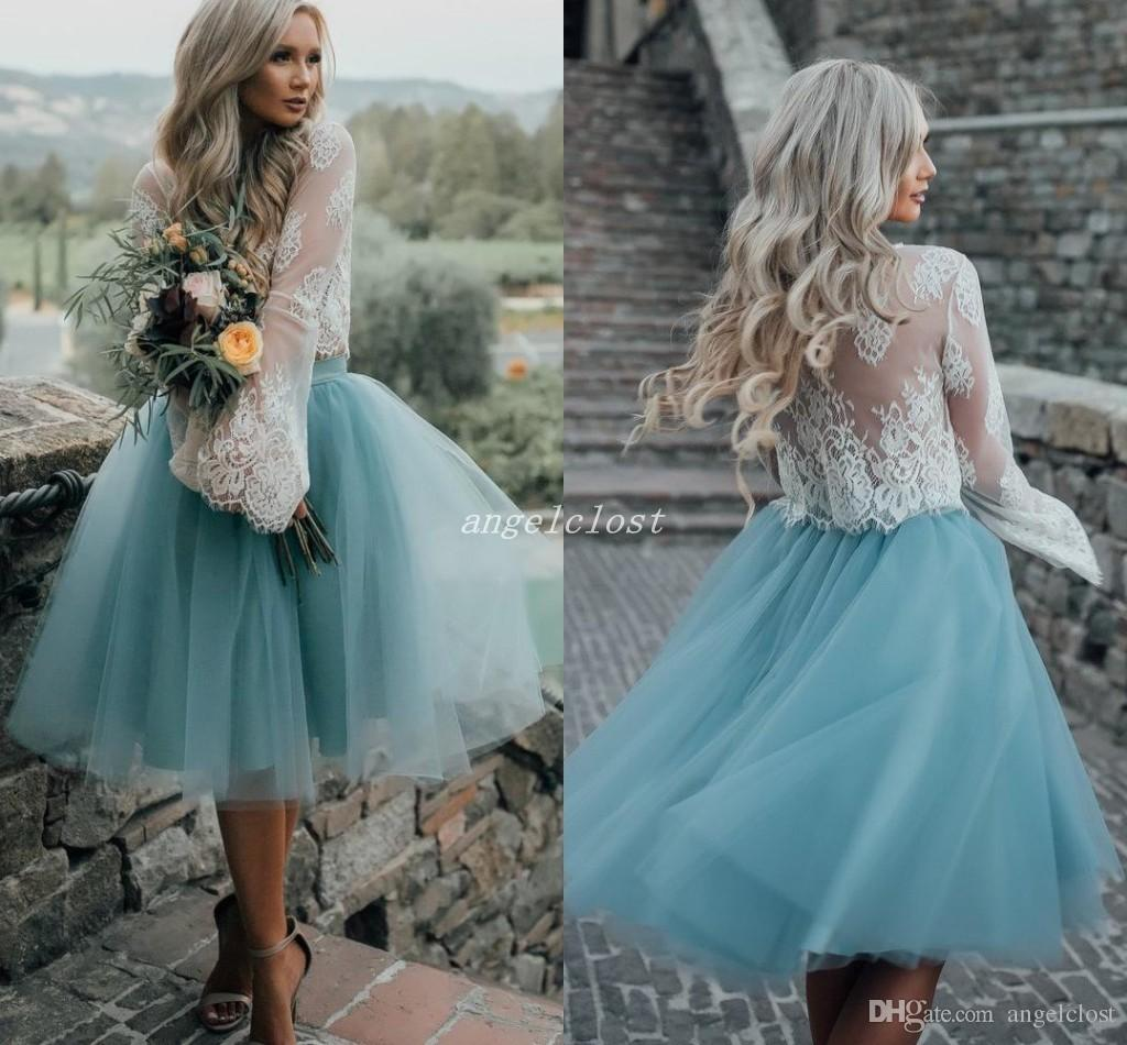 Short Two Pieces Bridesmaid Dresses 2019 Jewel Long Sleeves Knee Length Lace Top Country Wedding Guest Gowns Maid Of Honor Dresses Sky Blue