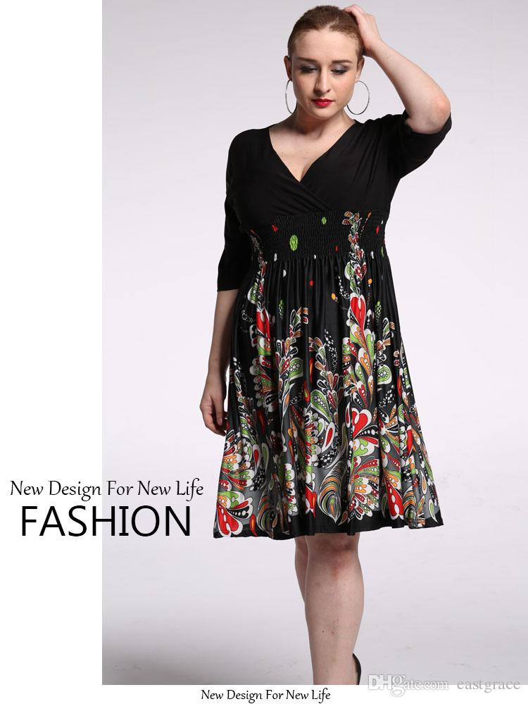 6XL Plus Size Women beach dress High Quality Short Bridesmaid Dresses Deep V-Neck and 1/2 Sleeve Flora Print Summer dresses