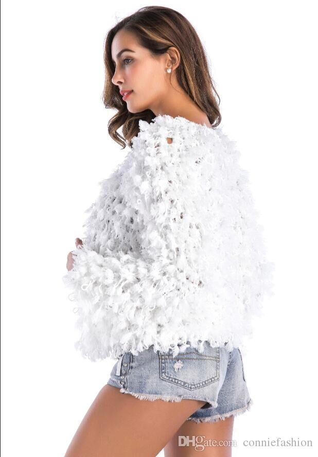 Hot 2018 Autumn/Winter Women's Loose Fit Hand Knitted Cardigan Sweater White Long Sleeve Knit Jumper Chritmas Party Knitwear Evening Coat