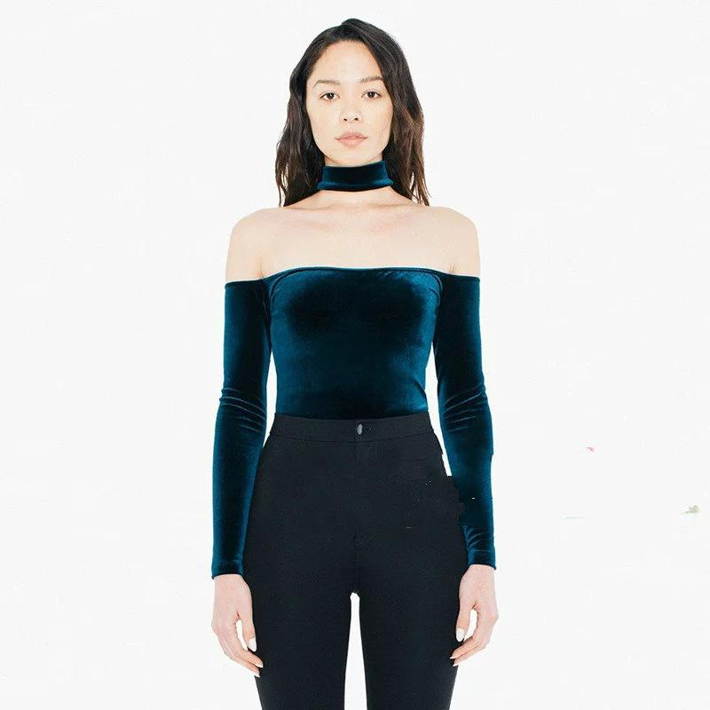db12d43069c33e Women Halter Slash Neck Off Shoulder Velvet Slit Neckline Choker Neckline  Long Sleeve Choker Classic Crop Top Coolest Tees Awesome Tee Shirt From  Bida Jany, ...