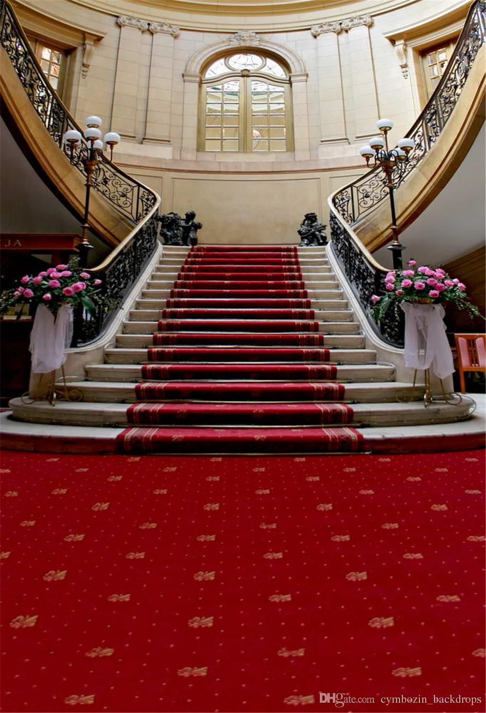 2018 Interior Staircase Wedding Party Photography Backdrop Printed Windows  Stairs Pink Flowers Red Carpet Photo Booth Background From  Cymbozin_backdrops, ...