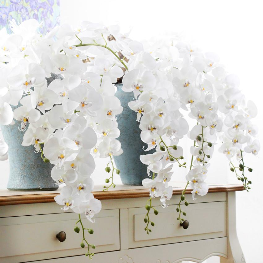 High Quality Large Artificial Silk Butterfly Orchid Flowers Real Touch Phalaenopsis Bouquet Wedding Party Decoration