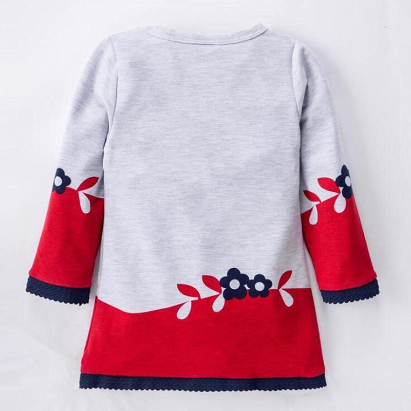 2017 nuova primavera autunno ragazze abiti bambini in cotone manica lunga Super Cute Fox stampa abiti da principessa Dress For Girl bambini