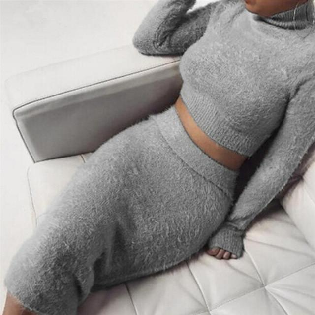 Set (2pcs )Autumn Women Bandage Suit Long Sleeve Fleece Crop Top Pencil Midi Skirt Solid Bodycon Dress Sweater Tracksuit Female