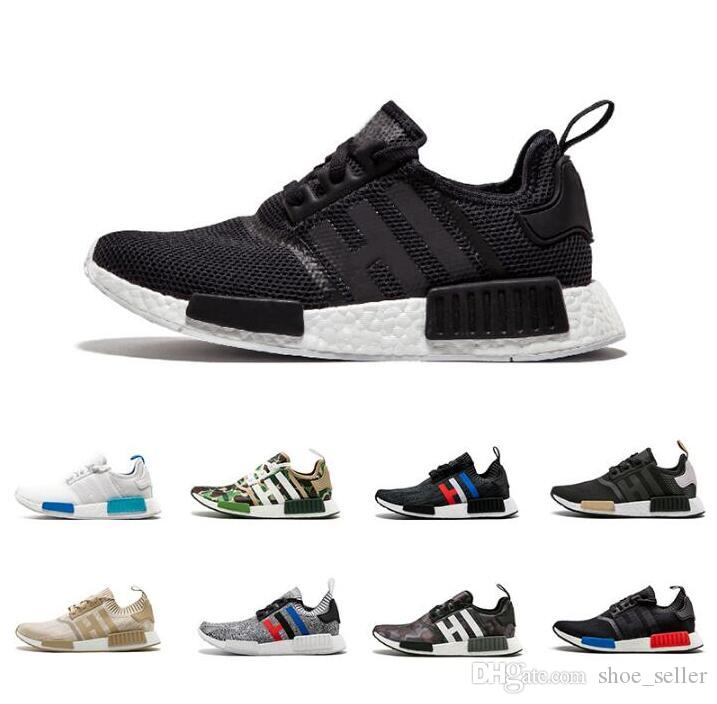1750b676c 2018 NMD R1 Oreo Runner Nbhd Primeknit OG Triple Black Camo Running Shoes  Mens Womens Trainers Nmds Runners Xr1 Sports Sneakers Size 36 45 Womens  Trail ...