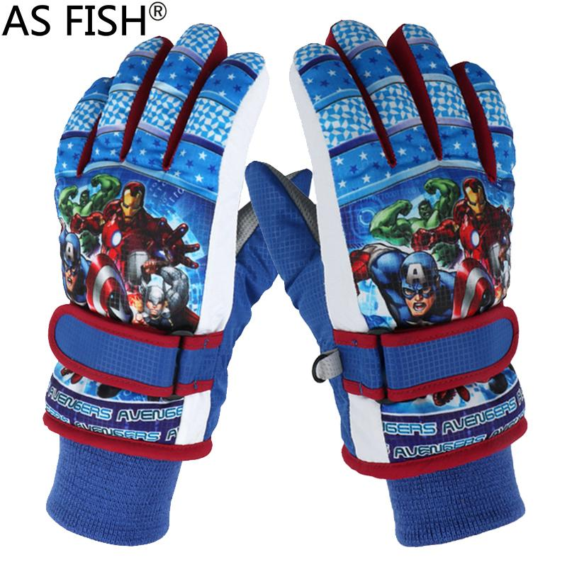 2018 Winter Warm Ski Gloves kids Snowmobile Skiing Snowboard Gloves  Waterproof Gloves for boys Children Cartoon Anime Figure LOL C18111501