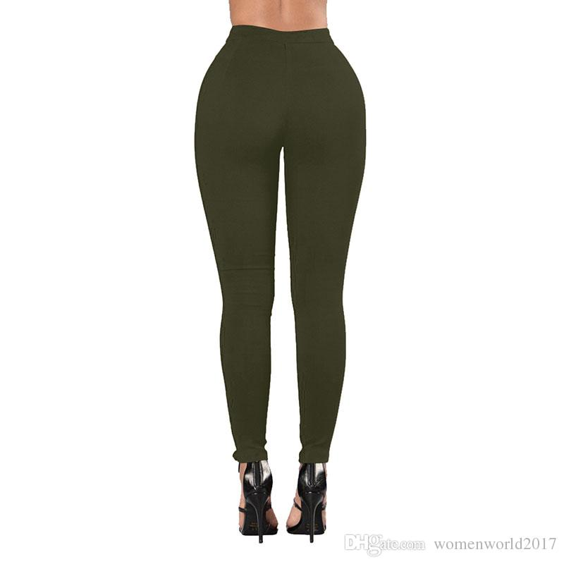 Sexy Damen Jeans Women 2018 Spring Summer Skinny Bandage Jeans White Back Camo Jeans Lace Up Denim Pants