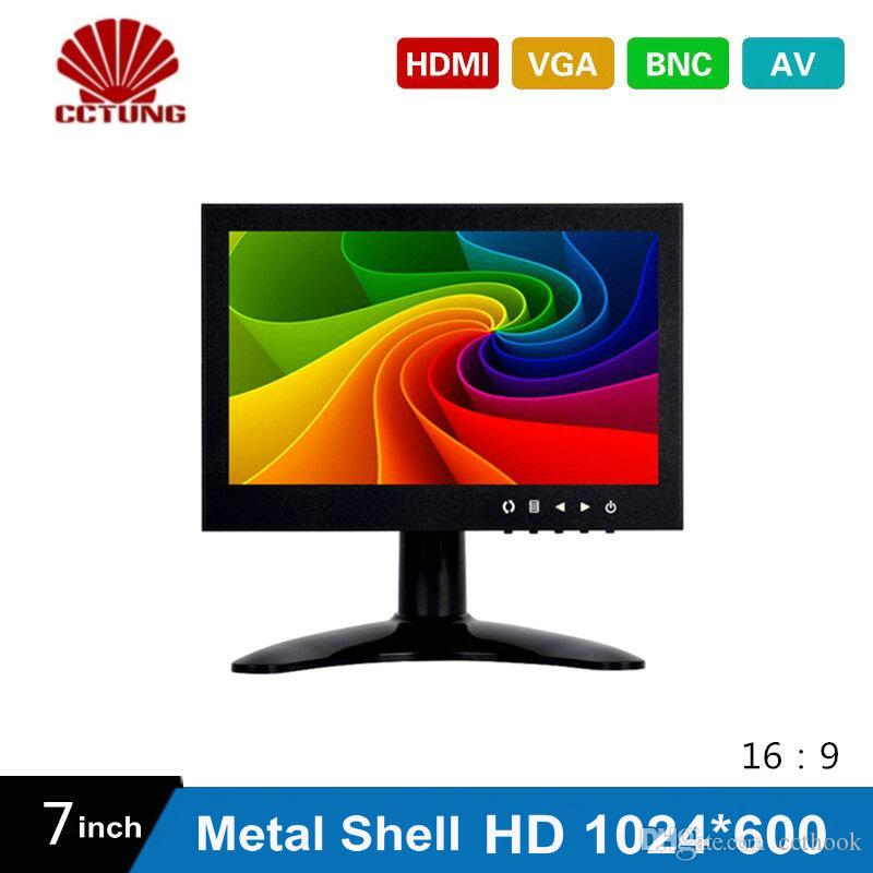 7 Inch HD CCTV TFT-LED Screen with Metal Shell & HDMI VGA AV BNC Connector for PC Multimedia Monitor Display Microscope etc Application