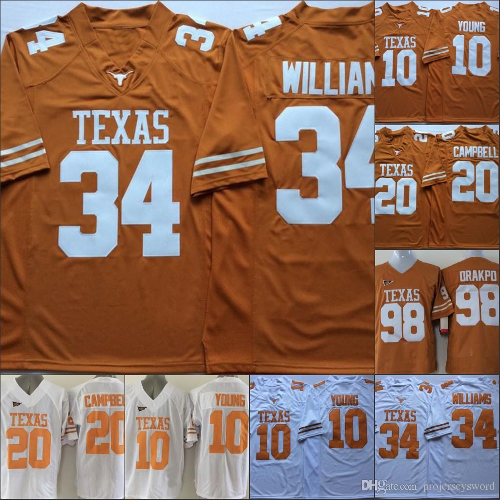 2189ab859 2019 Mens Texas Longhorns College Jersey 7 Shane Buechele #10 Vince Young #20  Earl #34 Ricky Williams College Jerseys Stitched M 3xl From Projerseysword,  ...