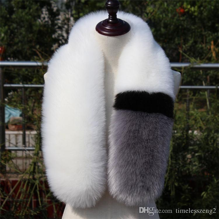 Venta al por mayor Moda de invierno bufanda de piel 13 Diseño Cuello caliente de las mujeres del mantón Wraps 10 * 100 cm Pañuelo de cuello Pashmina Faux Fox Fur estolas Patchwork