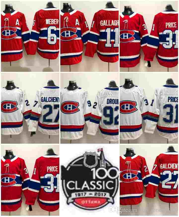 d20fc6a151e 2019 2018 Montreal Canadiens 100 Classic 31 Carey Price 6 Shea Weber 92  Jonathan Drouin 27 Alex Galchenyuk 67 Max Pacioretty Hockey Jerseys From ...