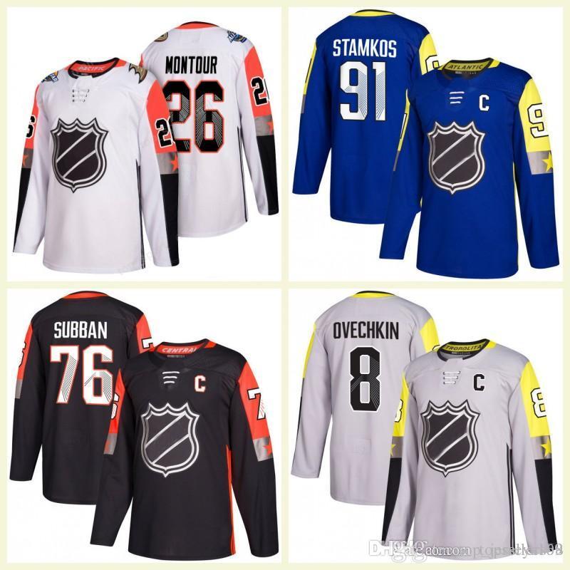 best website b2892 2dc21 2018 Men s Hockey 88 Brent Burns 8 Drew Doughty 29 Marc-Andre Fleury 23  Sean Monahan 26 Brandon Montour All-Star Jerseys