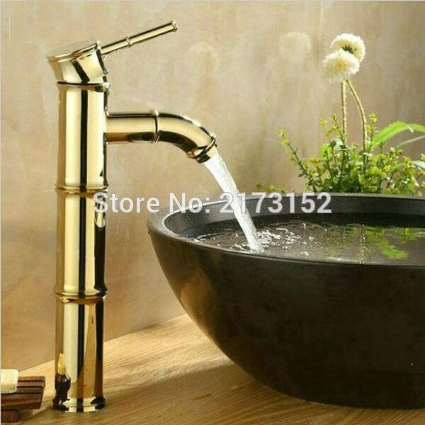 Bamboo Shape Gold Plated Tall Bathroom Faucet Royal Single Handle ...