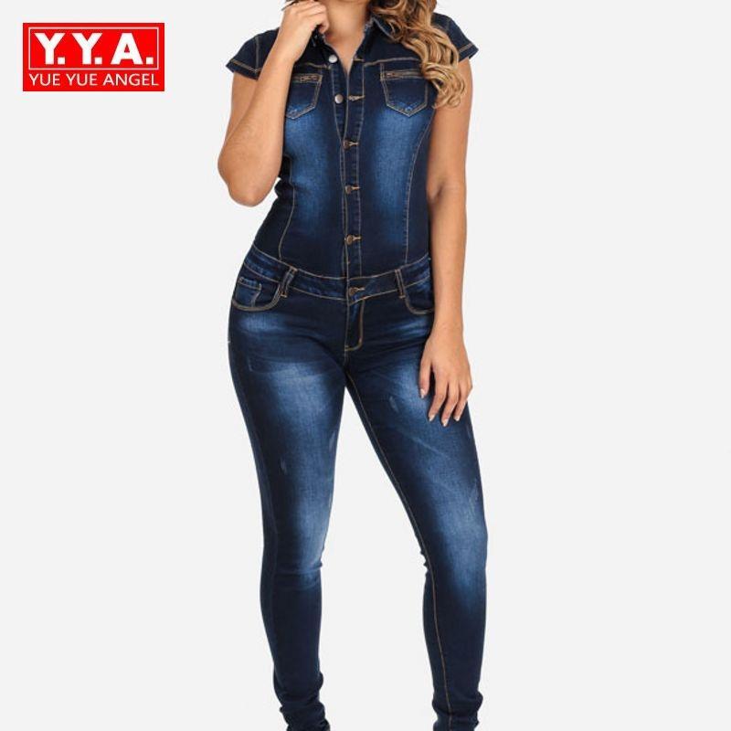 82732b9e223 2019 2018 New Long Pants Denim Women Jean Jumpsuit Fashion Short Sleeve  Slim Fit Jumpsuit For Woman Elegant Female Button Plus Size From Baldwing