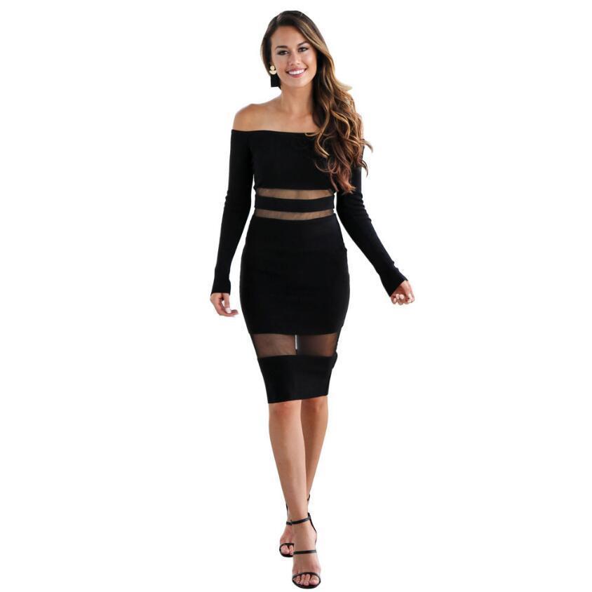 grande qualité parcourir les dernières collections mieux aimé Nouvel été 2018 femmes robe sexy à manches longues col slash dentelle  patchwork mince robe crayon Stretch noir blanc au genou robe