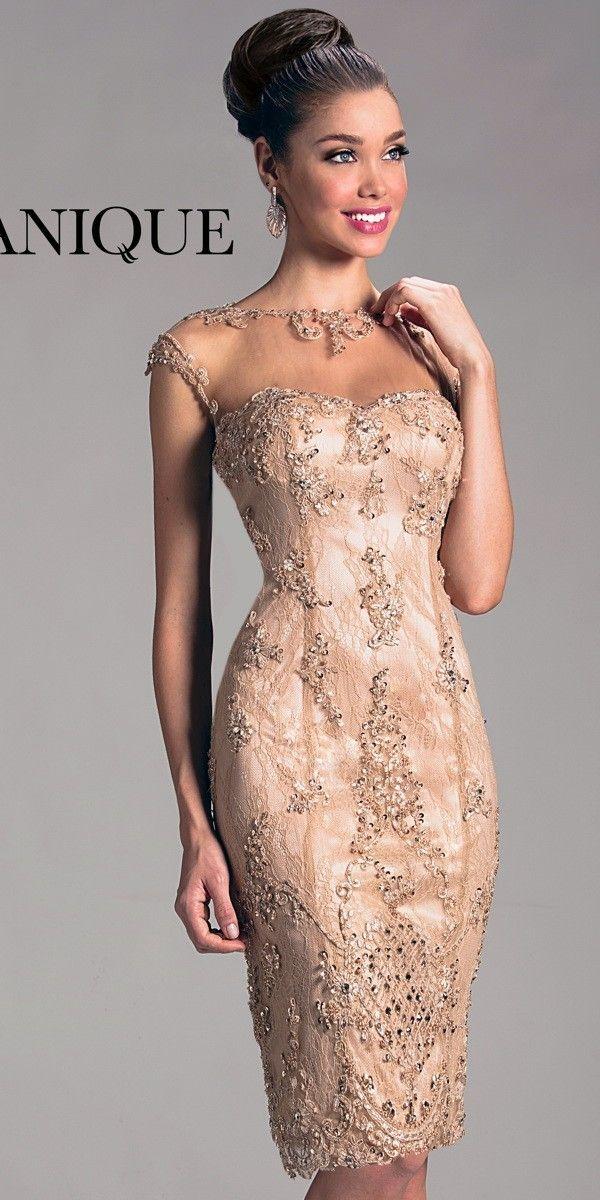 2018 Abiti da cocktail eleganti le donne Guaina Trew Sheer Cap Sleeves Lace Beading Hollow Back Knee Length Gold Party Dress