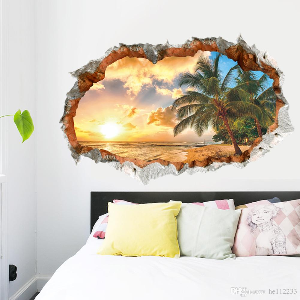 Brand New 3D Stickers Landscape Beach Tree Wall Stickers Waterproof PVC Wallpapers Children Bedroom Living Room Background Decoration