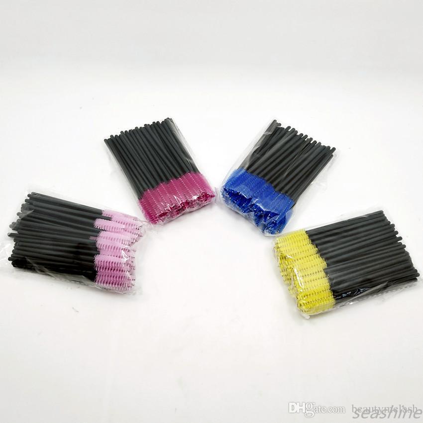 Seashine / Rose Baguettes de Mascara Jetables Mini pinceaux pour cils Applicateur de baguette de Mascara Brosses Micro Spoolie pour le maquillage des cils