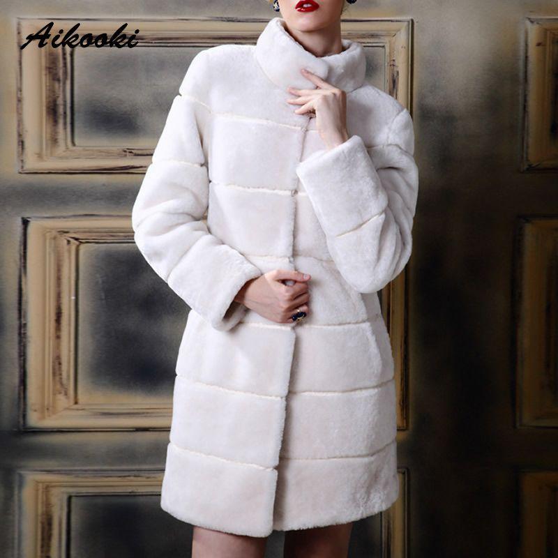 852664e2f45e 2019 Aikooki Womens Fur Coat Fake Fur Coats Winter Plus Size Mandarin  Collar Vintage Artificial Mink Black White Faux Long Overcoat C18111501  From Shen8407