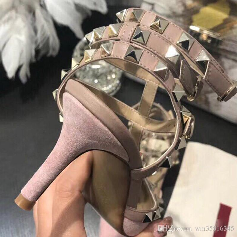 Zapatos de tacón alto de las mujeres vestido de fiesta moda nobuck remaches de cuero sexy punta estrecha zapatos hebilla plataforma bombas zapatos de boda