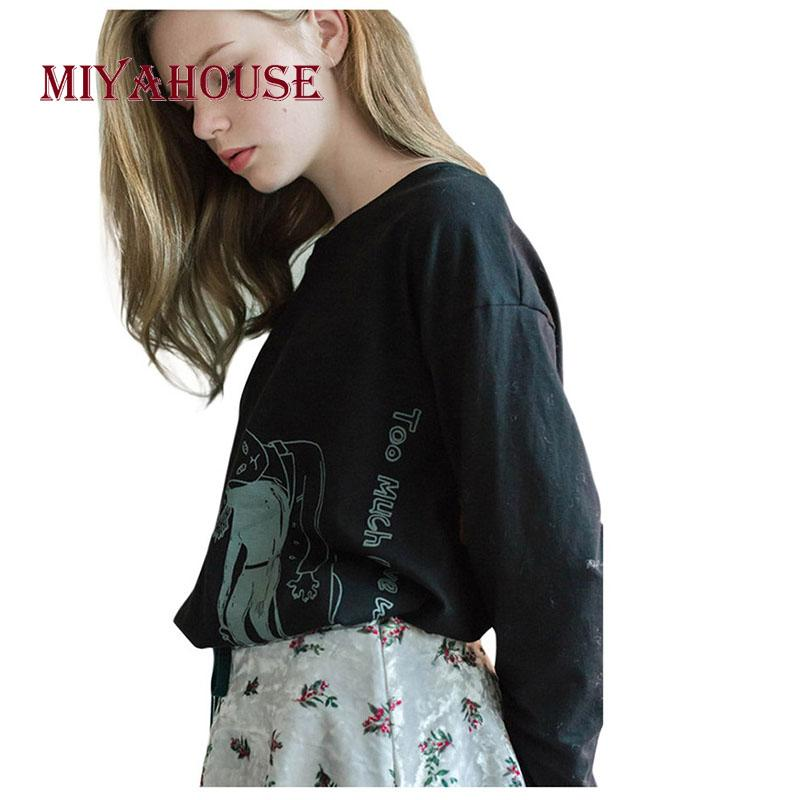 Miyahouse Cartoon Printed Lady T-Shirt Spring Autumn Letter Full Sleeve Shirts For Female Solid Color Casual Loose O-Neck Shirts