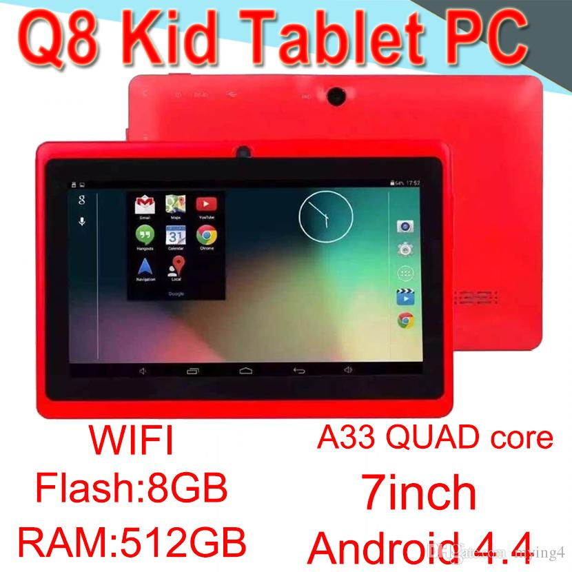 Q8 7 inch tablet PC A33 Quad Core Android4.4 Strong Capacitance 512MB/8G RAM/BROM WIFI Dual Camera Flashlight ECPB-6 50 Packs