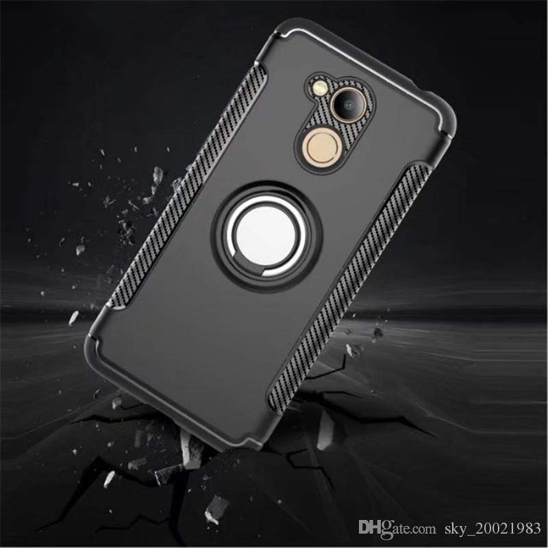 Cas de couverture arrière de PC de silicone doux d'anti-knock pour Huawei Honor 6C Pro cas de téléphone portable avec le support d'anneau
