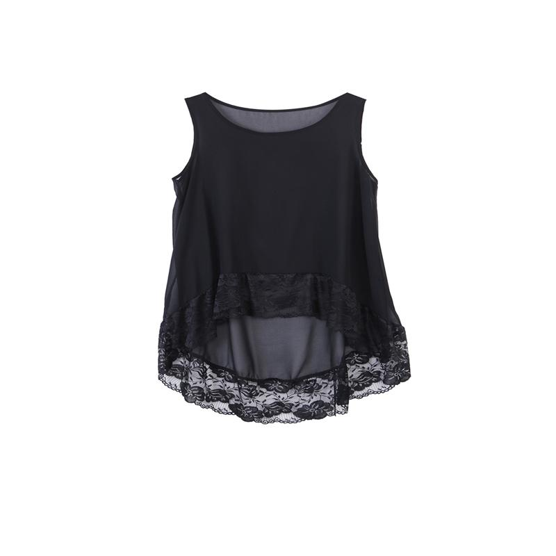 23737a0e9f6 Summer Women Chiffon Sleeveless Vest Top Ladies Casual Loose Floral Lace  Black Chiffon Tops Fashion Shirt Outfit Summer