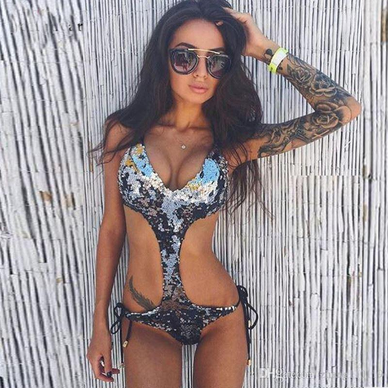 2018 New Design Bling Ladies Womens One-Piece Swimsuit Bandage Bikini Push-up Padded Sequin Bathing Swimwear for woman