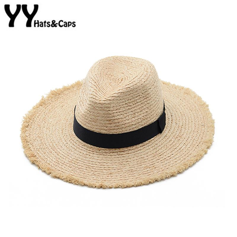 12c81c87215 Raffia Straw Panama Hats Large Wide Brim Beach Sun Hats Visor Men Women  Summer Jazz Caps Vintage Felt Rafia Panama YY18053 Sun Hats For Men Hats  And Caps ...