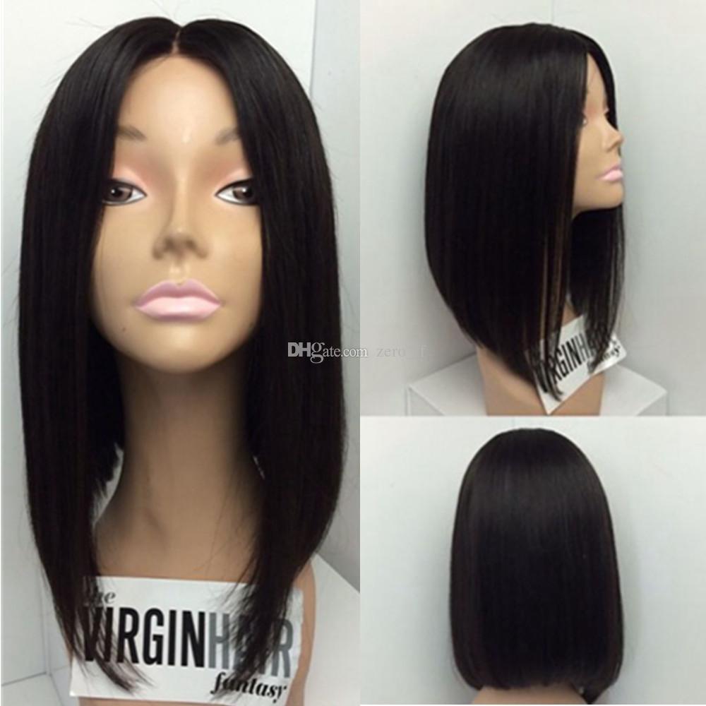 Cheveux brésiliens 5 * 4.5 '' Base de soie droite courte Bob pleine perruques de dentelle Glueless Bob Lace Wig