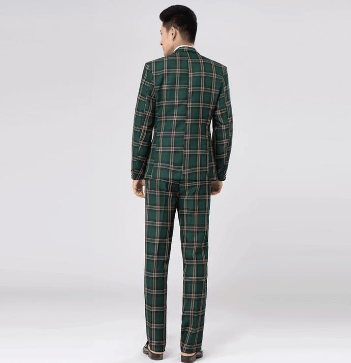 Zielony Brown Plaid Formalny Sukienka Męskie Zestaw Kartuarni Mężczyźni Garnitur Najnowsze Płaszcz Spodnie Wzory Mens Garnitury Ślub Goście Garnitur + Spodnie + Krawat