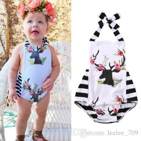 7431e2352280 Baby Girls Clothes Newborn Infant Floral Deer Romper Roupas Jumpsuit  Toddlers Boutique Clothing Outfits Ruffled Pajamas Handmade Bodysuit Online  with ...