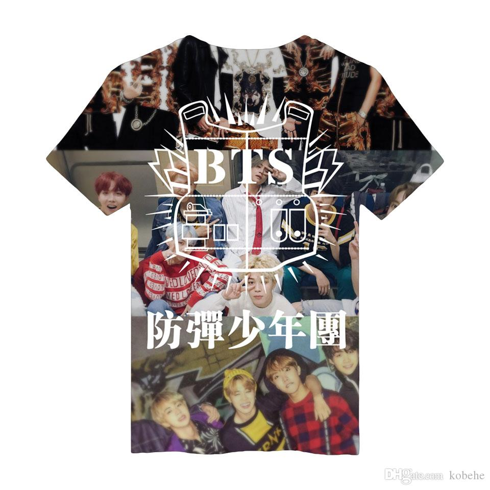 4ab20527f BTS K Pop T Shirt 3D Design Print Fashion Fans Women Short T Shirt Men  Summer Casual Popular Idol Shirt Funny Clever T Shirts Best Sites For T  Shirts From ...