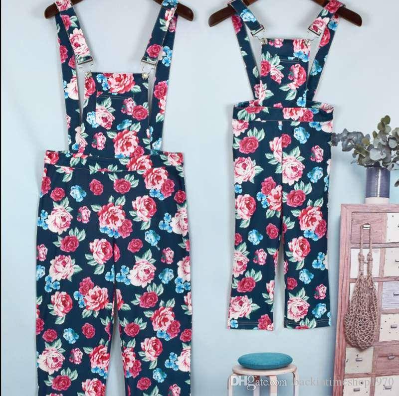 Mother And Daughter Blue Flowers Jumpsuit Baby Girls Floral Jumpsuit Kids Parents Summer Romper Family Matching Outfits