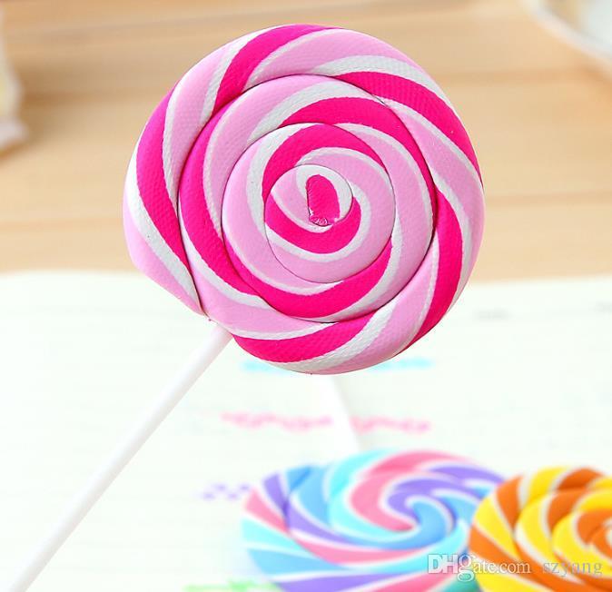 Borradores de dibujos animados Caramelos Divertidos Borrador de goma Oficina y Estudio Regalos para niños Papelería linda Novedad Lollipop Borradores SN1084