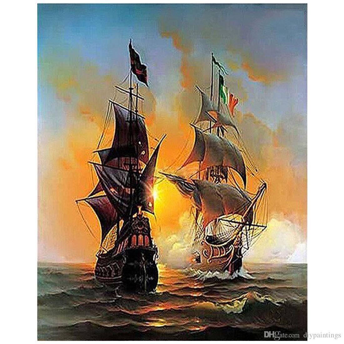 Satın Al Diy Savaş Gemisi Ile Tuval üzerine Veya Ahşap çerçevesiz