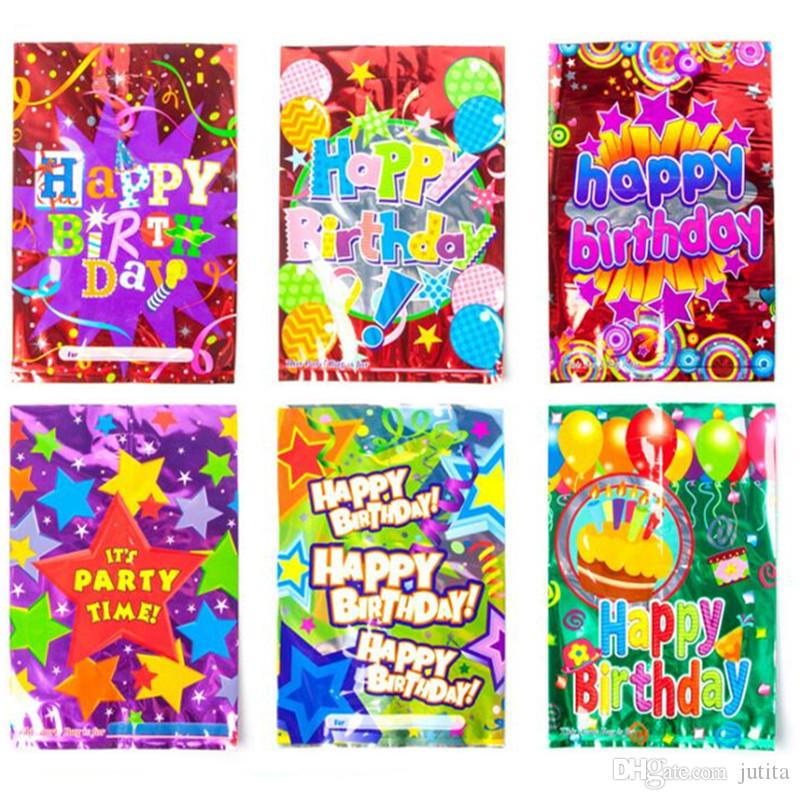 Colorful Foil Gift Bag Kids Children Birthday Favor Candy Loot Bags Handbag Party Supplies Graduation Favors