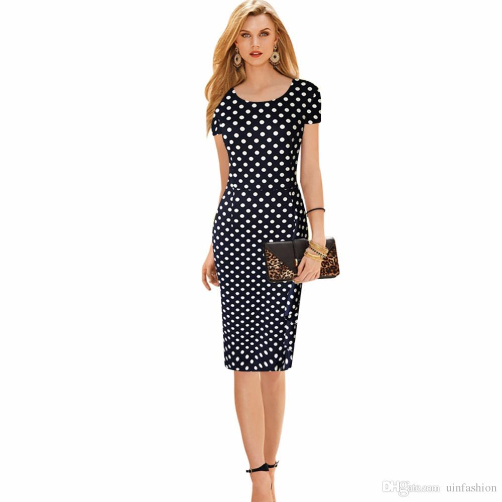 새로운 여성 빈티지 도트 인쇄 짧은 소매 오 - 넥 스트레칭 슬리밍 파티 드레스 빈티지 무릎 길이 뜨개질 복장 플러스 크기 S-4XL