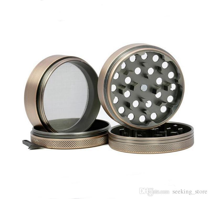 63mm Diamètre tabac broyeur de métal 4 pièces en alliage d'aluminium Bronze couleur moulin à herbes métalliques moulin à fines herbes gratuit Fedex LV630BR