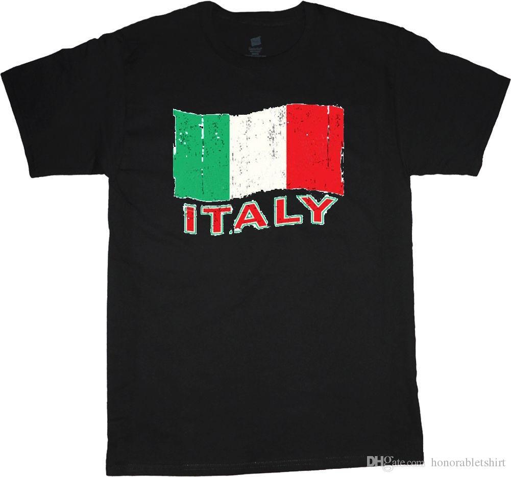 fa611a6c6 Italy T-shirt Italian Flag Design Men's Black Tee Shirt Travel ...
