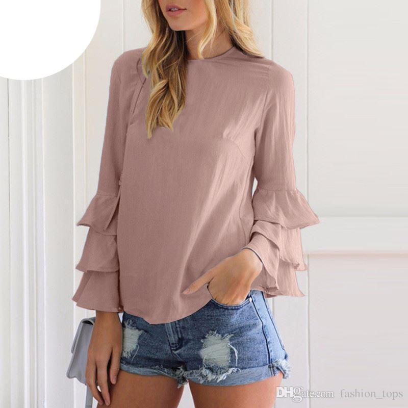 Hot Women Blouses Shirts 2018 Autumn Elegant Ladies O-Neck Flounce ... 323f10b67f58