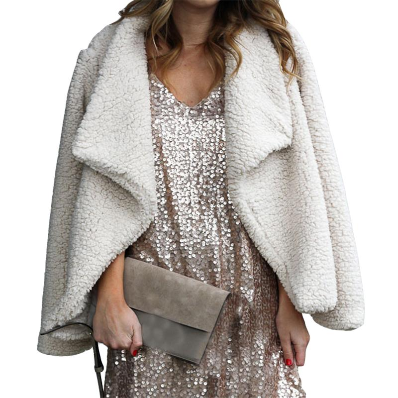 b2623084587 New Fuzzy Coat Loose Warm Outerwear Open Stitch Winter Solid Women ...