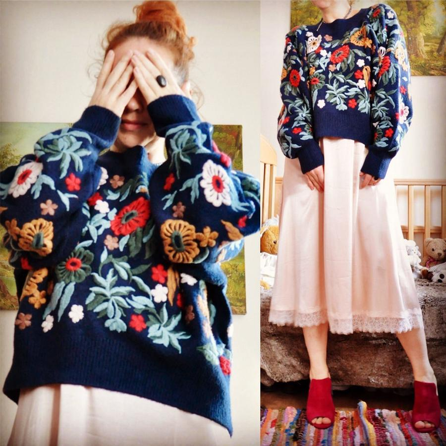boho knitted women sweater pullovers 2017 new dark navy winter floral embroidered long sleeve loose Casual chic brand sweaters